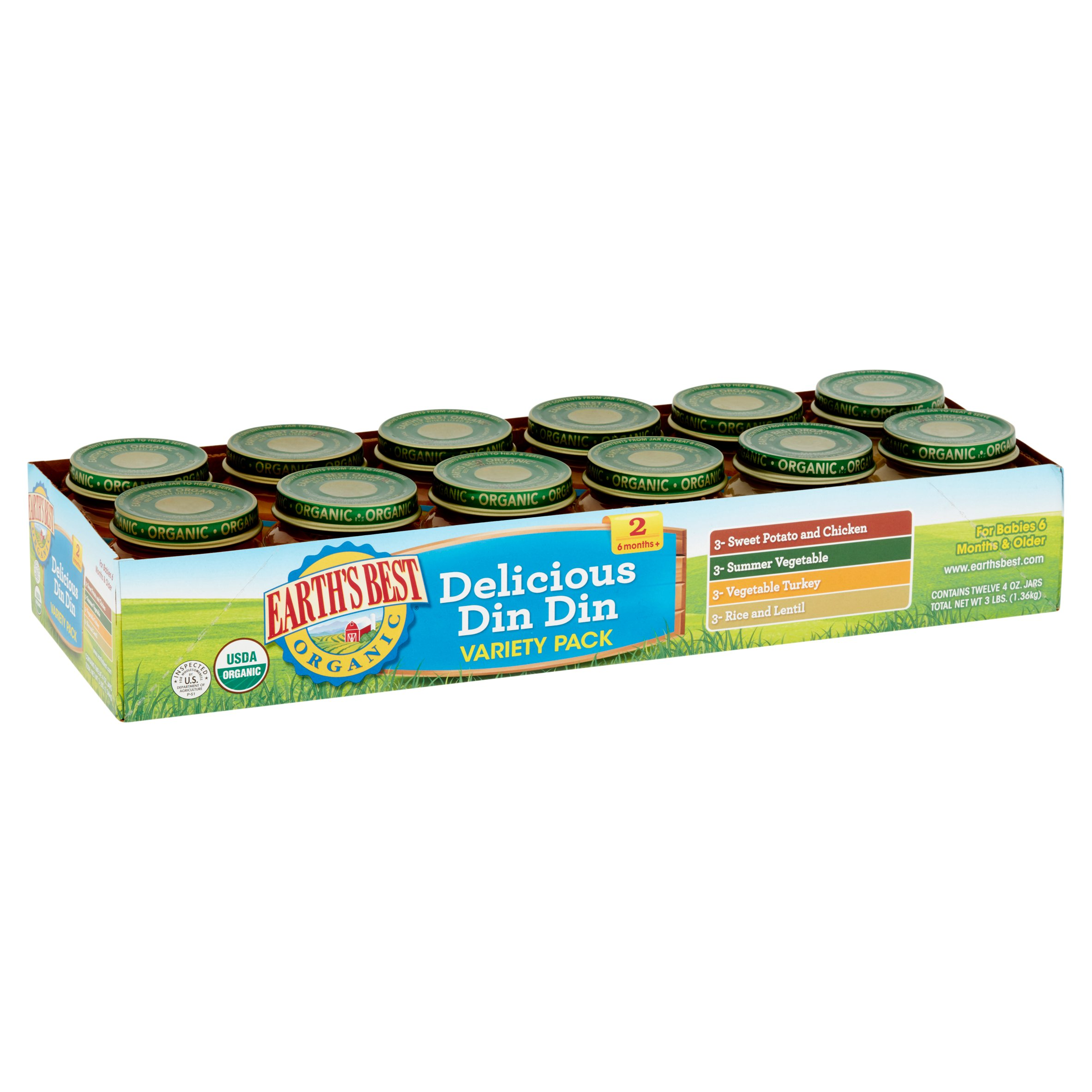 (12 Pack) Earth's Best Organic Baby Food Delicious Din Din Variety Pack Baby Food, 4 oz