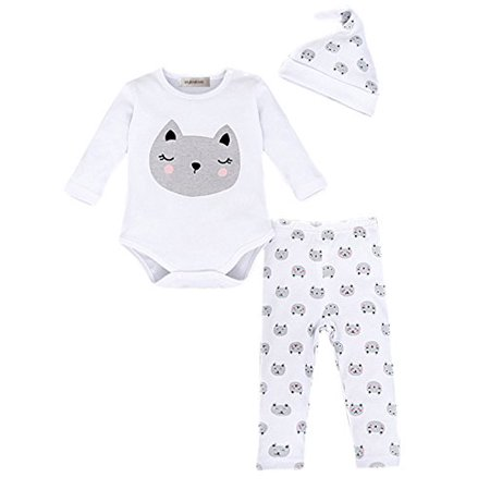 StylesILove Baby Cute Animal Print Cotton Overalls Romper, Pants and Hat 3-piece (3-6 Months, Kitty Cat)
