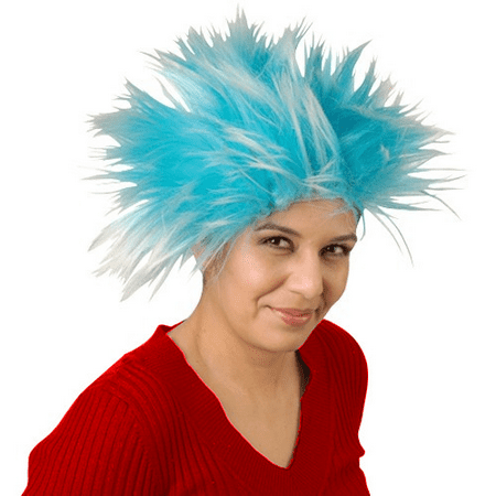 Party City Blue Wig (Thing 1 Thing 2 Blue Wig Cat In The Hat Hair Costume Book TV Rick Sanchez)