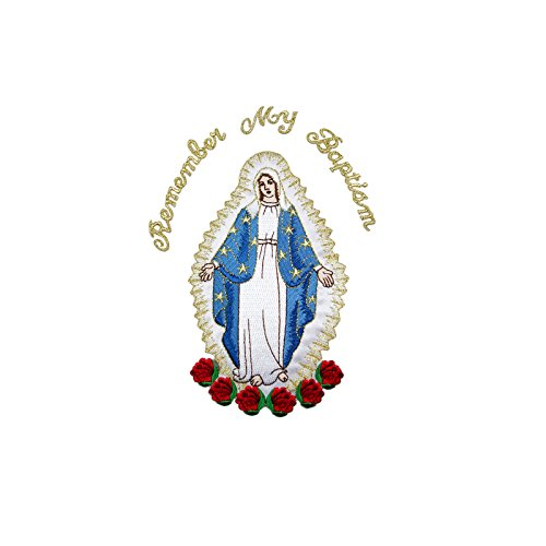 Full Embroidered Virgin Mary Applique Patch Gold Metallic Santa Maria Motif (English)