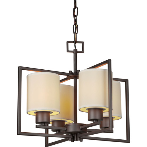 Forte Lighting 2570-04 4 Light 1 Tier Chandelier with Cylinder Shaped Shades