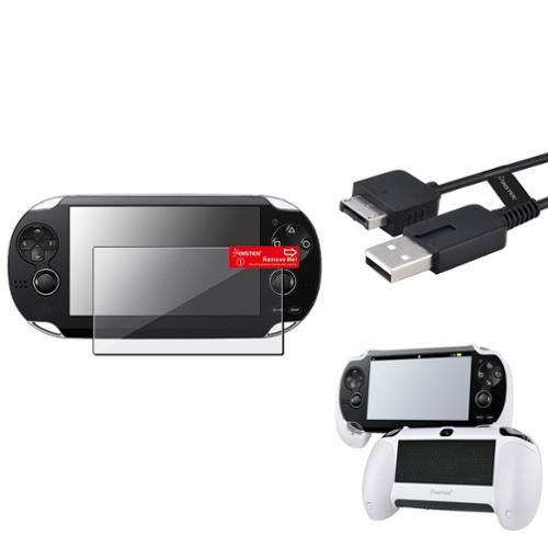 Insten White Hand Grip+Clear Screen Protector+USB Cable For Sony PS Vita PSV
