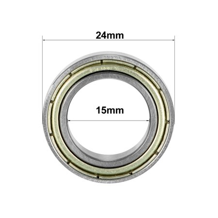 Deep Groove Ball Bearing 6802ZZ Double Sealed 15mmx24mmx5mm Carbon Steel 10Pcs - image 3 of 4