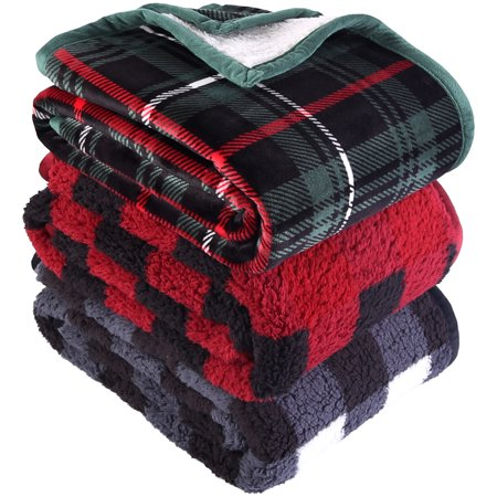 "Better Homes & Gardens Sherpa Throw Blanket, 50"" x 60"", Red Plaid"