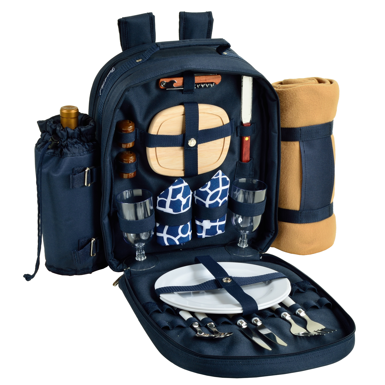 Picnic at Ascot Trellis Blue  Picnic Backpack for 2 with Blanket (080X-TB)