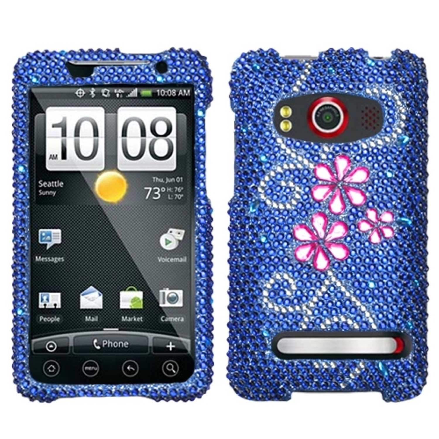 Insten Juicy Flower Diamante Case for HTC: EVO 4G