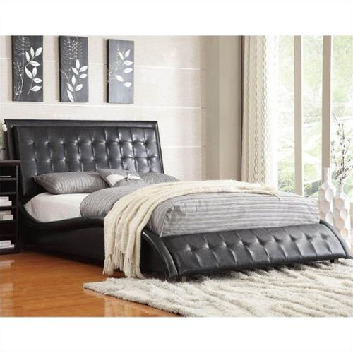 coaster tully upholstered queen bed in black vinyl - Upholstered Queen Bed
