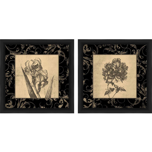 Sepia and Charcoal Flowers Floral Wall Art, Set of 2