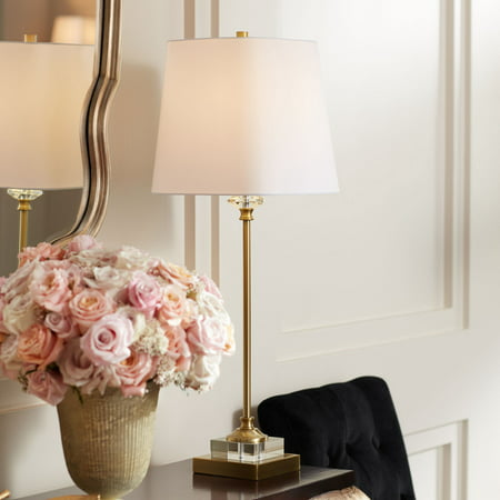 Regency Hill Traditional Buffet Table Lamp Gold and Crystal Shaped Shade for Dining Room ()