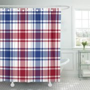 CYNLON Tartan Red Blue White Check Plaid Black Checked Classic Bathroom Decor Bath Shower Curtain 60x72 inch