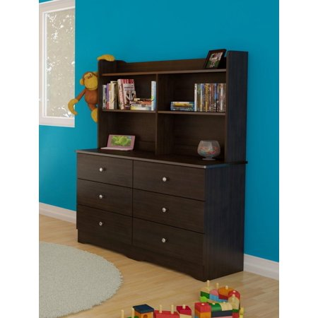 Pocono 6-Drawer Double Dresser with a Bookcase - Dresser Hutch