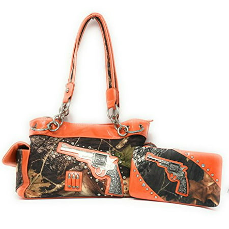 - Texas West Premium Western Camo Pistol Gun Bullets Rhinestone Handbag and Matching Wallet In Multi Colors