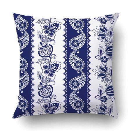 ARTJIA Lace Bohemian Borders Stripes with Blue Floral Motifs Pillowcase Throw Pillow Cover Case 18x18 inches