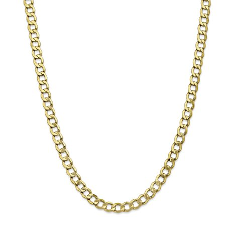 10k Yellow Gold 7mm Curb Cuban Link Chain Necklace 24 Inch Pendant Charm Anchor For Women Gift Set