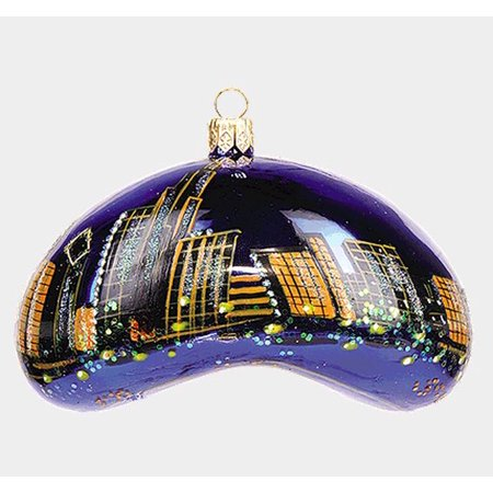 Chicago Bean During the Night Polish Blown Glass Christmas Ornament Decoration - Chicago Decorations