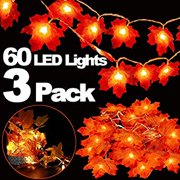 3 Pack Thanksgiving Lights Decorations Maple Leaves Fall String Lights, Thanksgiving Fall Lights 30 ft 60 LED Waterproof Battery Operated Fall Garland for Indoor Home Outdoor Decor Holiday
