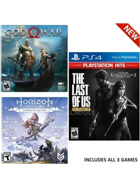 PS4 Only On, Games Bundle: Last Of Us Remastered, God of War, Horizon Zero Dawn