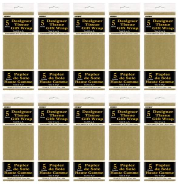 (5 Pack) Tissue Paper Sheets, 26 x 20 in, Metallic Gold, 5ct