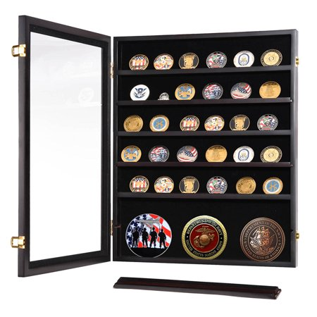 Unlighted Display Case (Military Challenge Coin Casino Poker Chip Display Case Shadow Box Wood Cabinet )