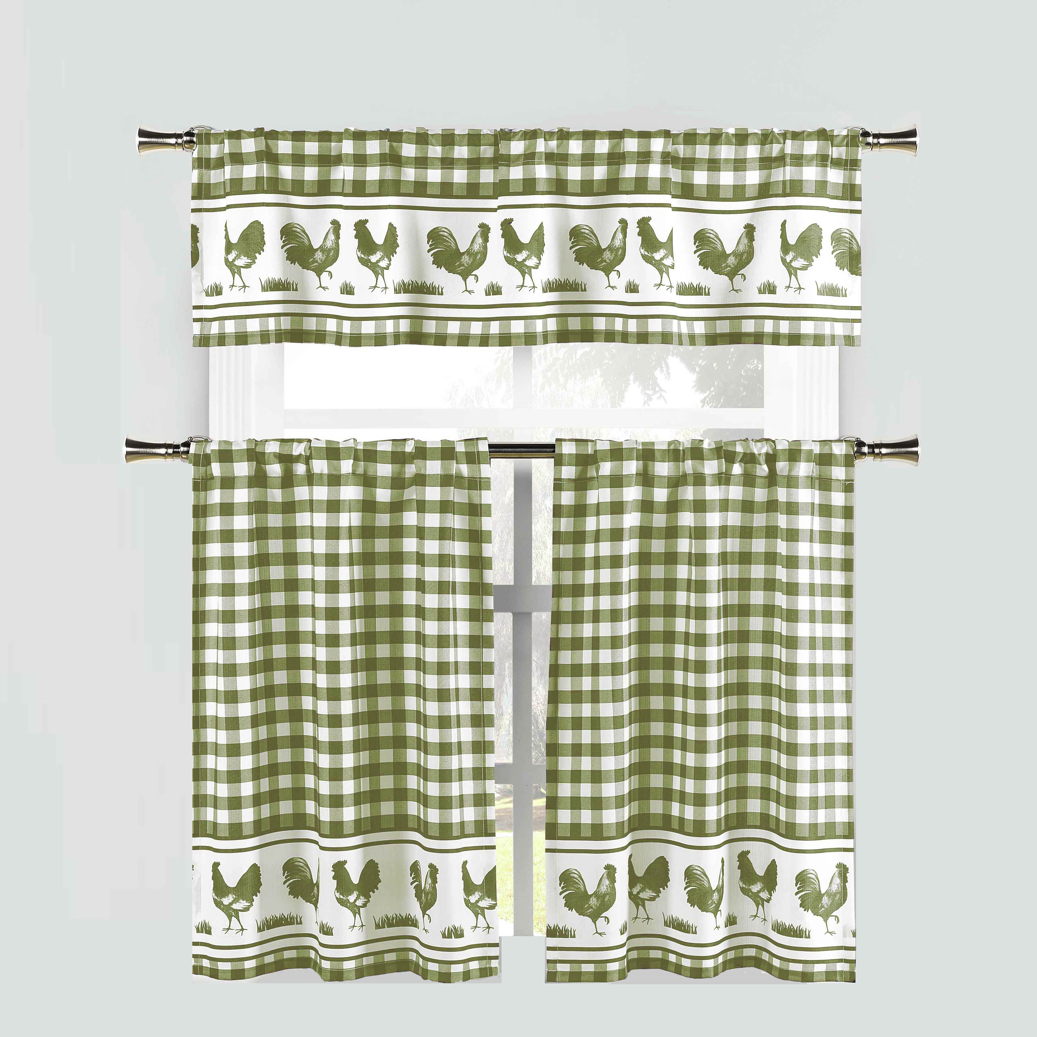 Sage Green 3 Piece Window Curtain Set: Gingham Check and Rooster Design