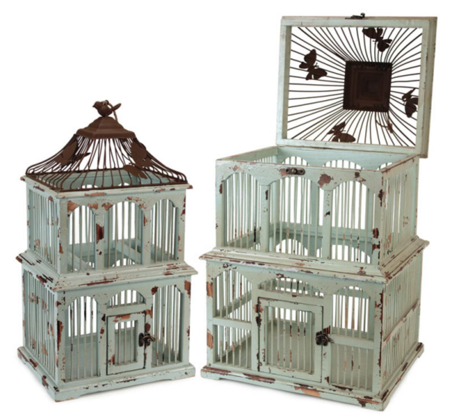 "Set of 2 Distressed Antique Style Green Decorative Birdcages with Butterfly Accents 22"" - 28"""