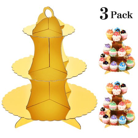 Baby Shower Cupcake Papers (Set of Three Gold 3-Tier Cardboard Cupcake Stands, Paper Cupcake Holders for Weddings, Birthday Parties, Baby Showers, and)
