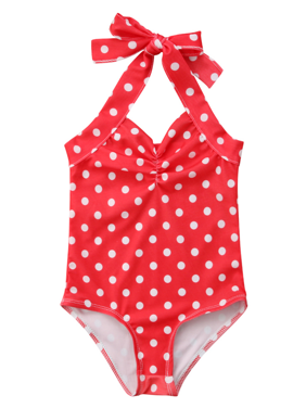 Styles I Love Infant Baby Girl Cute Printed One-piece Swimsuit Beach Bathing Suit Pool Swimwear (Polka Dots Red, 90/1-2 Years)