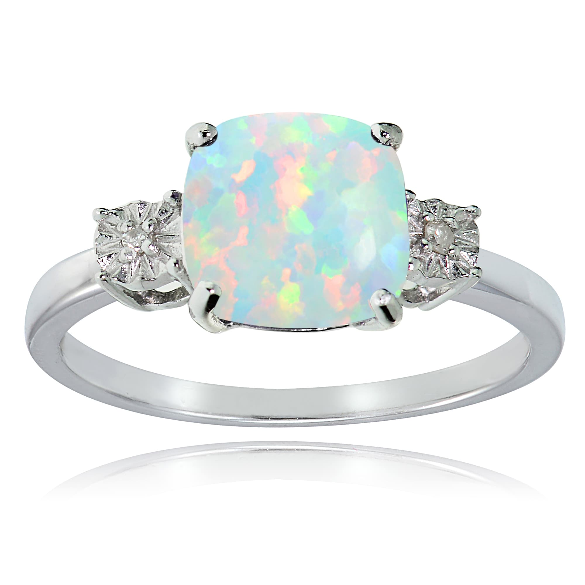 Princess Kylie Rectangle White Synthetic Opal Cubic Zirconia Ring Sterling Silver Size 6