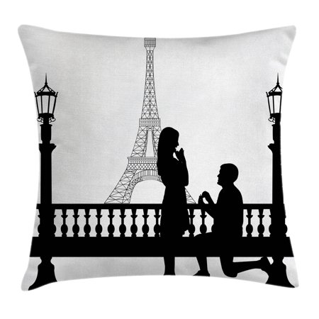Engagement Party Decorations Throw Pillow Cushion Cover  Paris Lovers City Wedding Proposal For Great Future Image  Decorative Square Accent Pillow Case  18 X 18 Inches  Black And White  By Ambesonne
