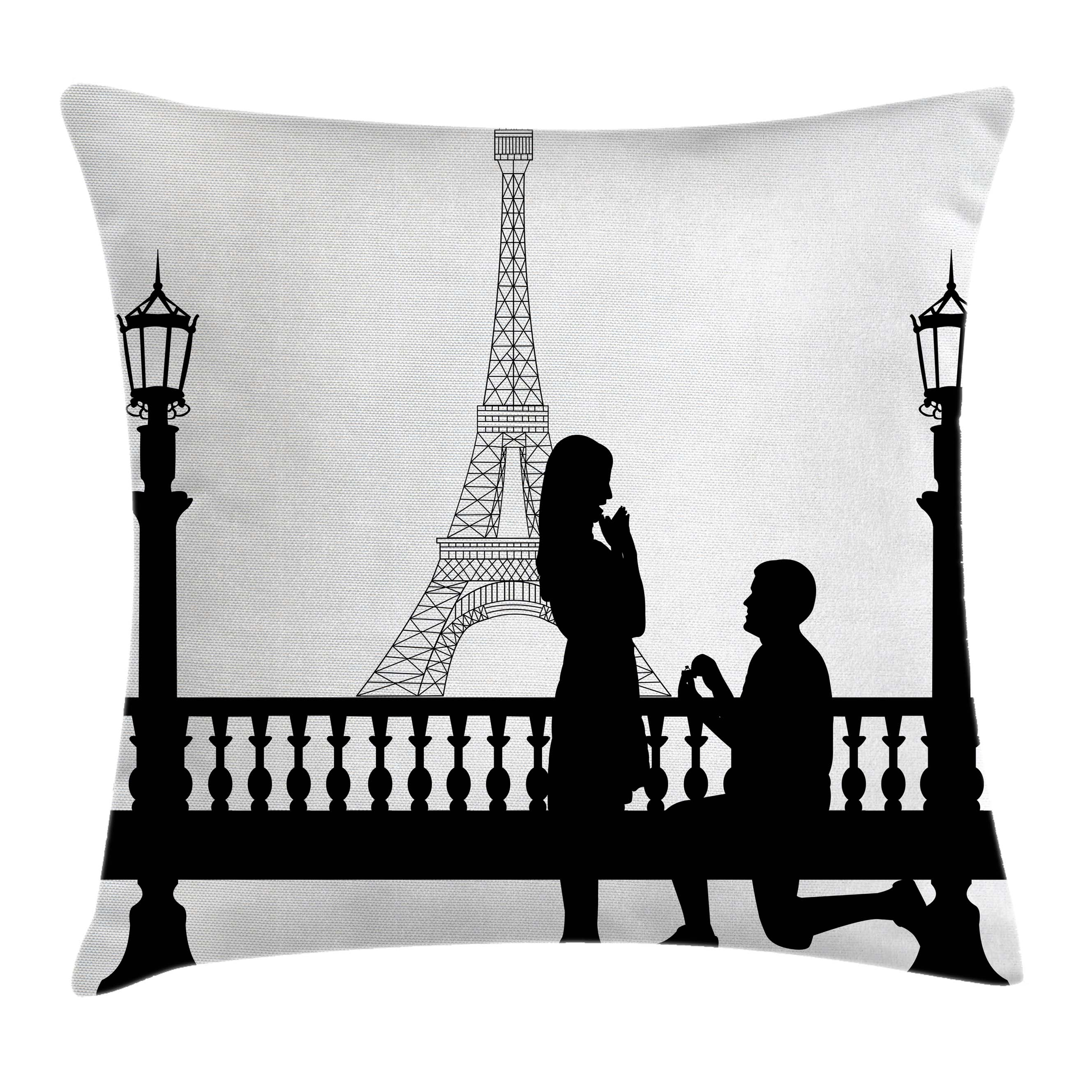 Engagement Party Decorations Throw Pillow Cushion Cover, Paris Lovers City Wedding Proposal for Great Future Image, Decorative Square Accent Pillow Case, 16 X 16 Inches, Black and White, by Ambesonne