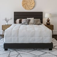 Premier Rapallo Upholstered Tri Panel Channel Headboard Platform Bed Frame, Multiple Sizes, Colors, and Materials