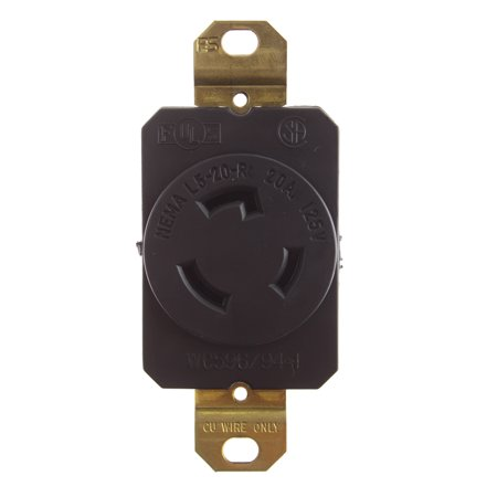 Pass & Seymour Legrand L520-R Locking Receptacle 20A 2P 3W 125V, Black