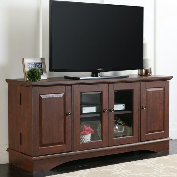 "Walker Edison Wood TV Stand for TVs up to 55"" - Brown - Walmart.com"