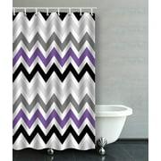 BPBOP Purple Black Gray Chevron Zigzag Pattern Design Bathroom Shower Curtain 48x72 inches