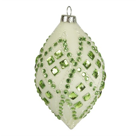 4 good tidings ivory with pastel green gems glass teardrop christmas ornament - Pastel Green Christmas Decorations