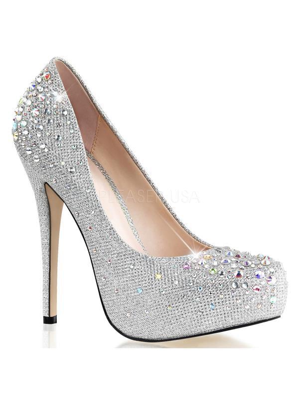 "DEST06R/SGFA Fabulicious Shoes 5"" Destiny Slv Gltr Fabric Size: 6"