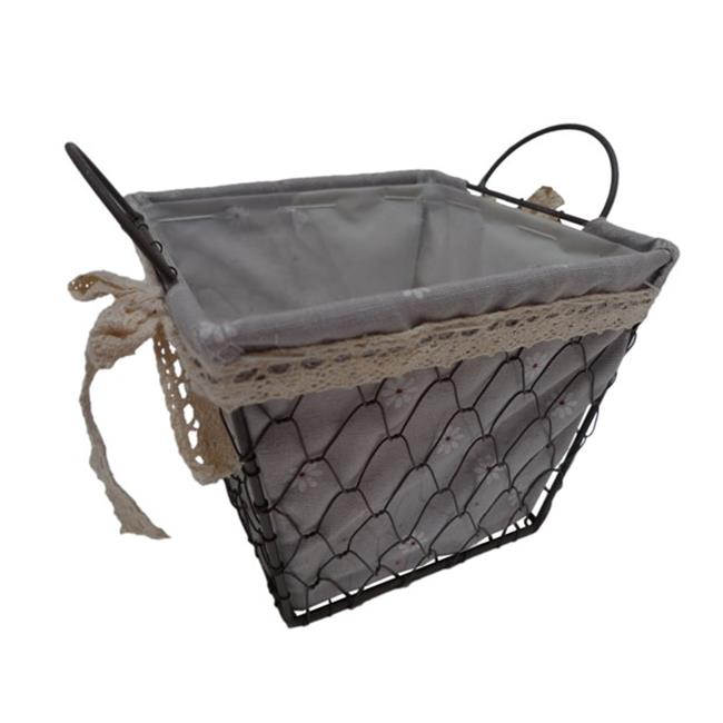 Cheung's FP-3365S Square Lined Wire Decorative Basket with 2 Ears