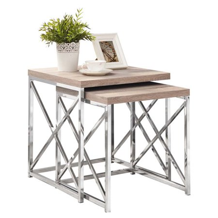 Chrome Natural (Kingfisher Lane 2 Piece Nesting Table Set in Natural and Chrome )