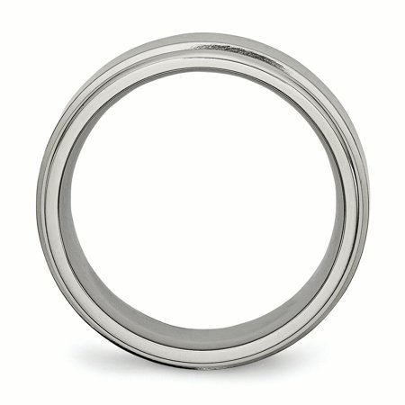 Titanium Ridged Edge 8mm Brushed Wedding Ring Band Size 11.00 Classic Flat W/edge Fashion Jewelry Gifts For Women For Her - image 1 de 10