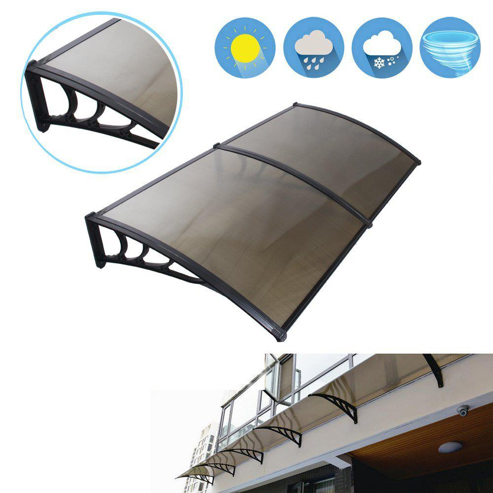 """Ktaxon 80""""X40"""" Window Awning Outdoor Polycarbonate Front Door Patio Rain Cover,Garden Eaves Canopy UV Rain Snow Protection"""