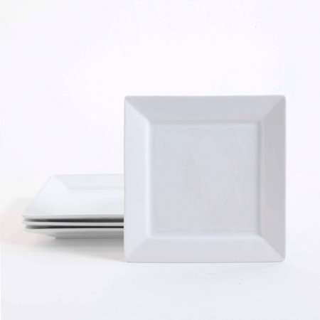 "Gibson Studio Bistro Dining 8.5"" Square Dessert Plates, 4-Pack, White"