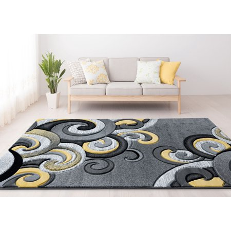 United Weavers Drachma Dahlia Contemporary Yellow Woven Olefin/Polypropylene Area Rug or Runner ()