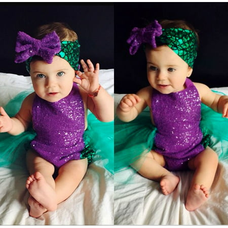 2PCS Sequin Baby Girls Mermaid Tulle Romper Bodysuit Headband Sunsuit Outfits Clothes