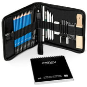 Jannay Drawing Set – Sketch Pencils and Tools, Professional Art Supplies in a Portable Case - 34 pcs - Bonus: White Charcoal Pencil and 100 Pg Quality Paper Pad Notebook - No Sharp Knives