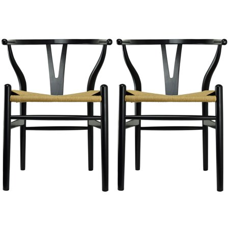 2xhome Set of 2 Black Wishbone Wood Armchair With Arms Open Y Back Open Mid Century Modern Contemporary Office Chair Dining Chairs Woven Seat Brown Living Desk Office