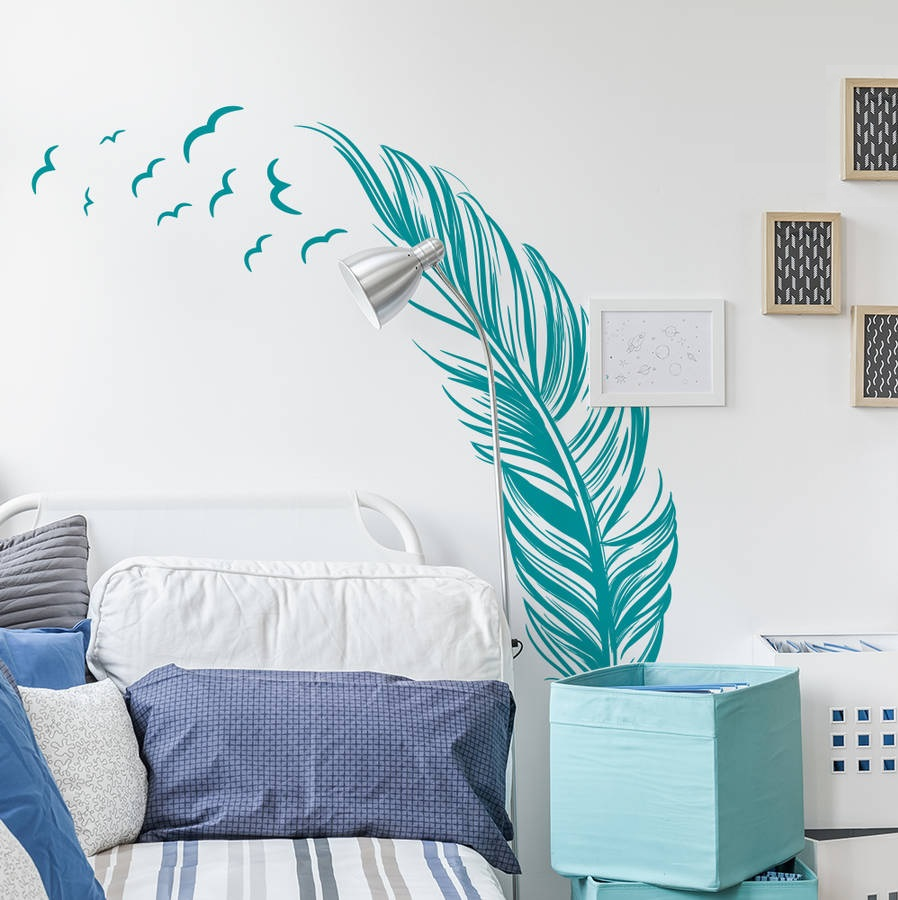 "Decal ~ Feather with Birds: Wall Decal Turq 20"" x 40"""