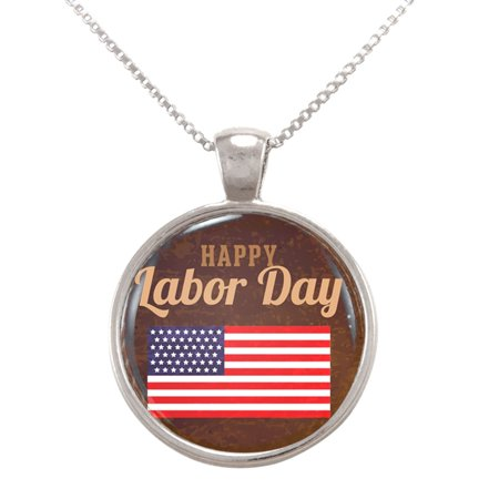 Happy Labor Day Illustration With American Flag Pendant Necklace