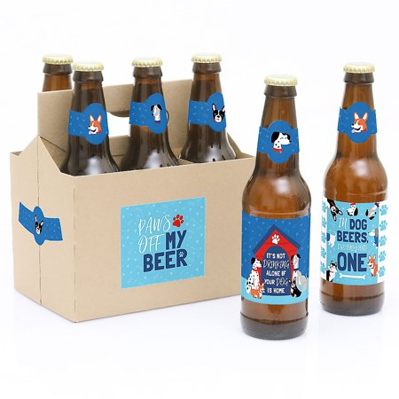 Pawty Like a Puppy - Dog Baby Shower or Birthday Party Decorations for Women and Men - 6 Beer Bottle Label Stickers and 1 - Puppy Dog Birthday Decorations