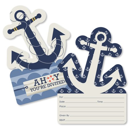 Ahoy - Nautical - Shaped Fill-In Invitations - Baby Shower or Birthday Party Invitation Cards with Envelopes - Set of - Nautical Themed First Birthday