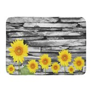 GODPOK Vase Yellow Blooming Sunflowers Bricks Interior Leafs Plant Stones Wall Rug Doormat Bath Mat 23.6x15.7 inch